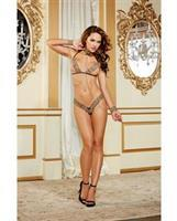 Bra and Thong, Collar w/Attached Chain Restraints Leopard