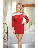 Holiday Sheer Knit Chemise w/Marabou Trim Lipstick Red