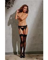 Garter Belt w/Embroidered Venise Lace Trim Black