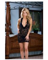 Stretch lace halter babydoll w/ruffled neckline and thong black
