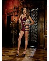 Stretch printed lace chemise with lace strap detail and thong