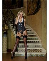 3 pc working late pinstripe knit vest garter, thong and glasses