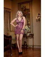 Leopard Halter Chemise and Matching Thong