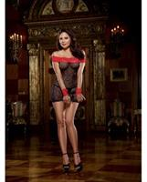 Stretch Lace Off Shoulder Chemise, Lace Wrist Restraints and Gstring