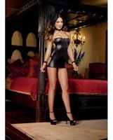 Shiny Stretch Knit Strapless Dress with G-String