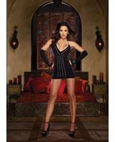 Halter Studded Front Spanking Dress, Gloves and GString