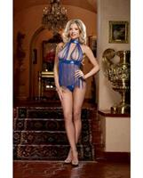 Fringe and Sequin Trim Halter Babydoll w/Tie Closures and Thong Sapphire O/S