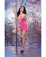 Seamless Halter Dress w/Adjustable Neck Ties and G-String Neon Pink