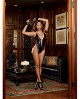 Faux Leather Look Microfiber Plunging Halter Teddy with G-String