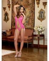 Stretch Mesh Open Front Halter Teddy