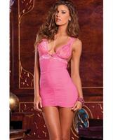 Rene rofe ruched mesh and lace chemise and g-string set