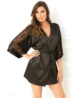Satin Robe with Lace Sleeves