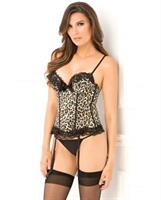 Leopard Print Bustier with Removable Garters and G-String