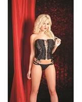 Bustier with Sequin Panels, Lace Up Front, Hook and Closure Back