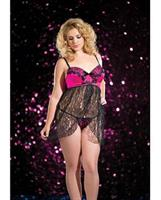 Cross Over Lace Babydoll With G-String
