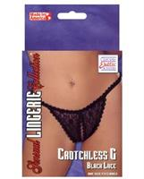 Black lace Crotchless g-string