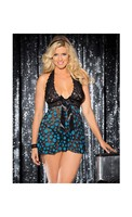 Sheer and Lace Babydoll w/Bow and Polka Dots Turquoise/Black