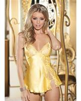Charmeuse and Lace Babydoll w/Adjustable Straps and Thong Buttercup Yellow MD