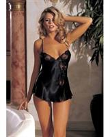 Charmeuse and Lace Babydoll w/Adjustable Straps and Thong Black MD