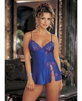 Charmeuse and Lace Babydoll w/Adjustable Straps and Thong Electric Blue MD