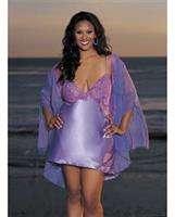Charmeuse and Lace Chemise w/Criss Cross Adjustable Straps Fall Violet MD