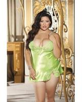 Charmeuse and Lace Babydoll w/Criss Cross Adjustable Straps and G-String Spring Green