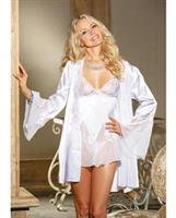 Charmeuse and Lace Chemise w/Adjustable Straps and G-String White 3X