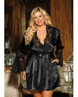 Chiffon and Lace Bell Sleeve Robe Black 3X/4X