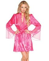 Chiffon and Lace Bell Sleeve Robe Passion Pink L/XL