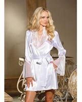 Chiffon and Lace Bell Sleeve Robe White