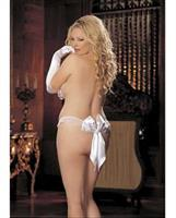Charmeuse and Mesh Big Bow Thong White