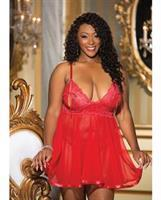 Stretch Lace Babydoll and G-String Red