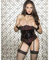 Valentines Lace and Vinyl Waist Cincher w/Chain Link Collar and Cffs and Adjstble Garters Black/Red