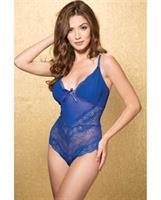 Stretch Lace and Mesh Teddy w/Mesh Over Cups, Adjustable Straps and Open G-String Royal
