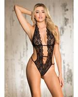 Stretch Lace Teddy w/Deep V Front, Attached Elastic Strips, Halter Tie and String Back Black