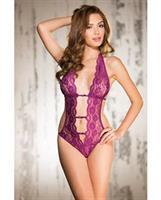 Stretch Lace Teddy w/Deep V Front, Attached Elastic Strips, Halter Tie and String Back Orchid