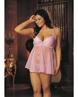 Embroidery and Sheer Babydoll w/Underwire Cups, Adjustable Straps and G-String Pink MD