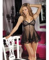Lace and Net Babydoll w/Adjustable Straps and G-String Black LG
