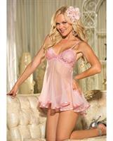 Lace and Net Babydoll w/Adjustable Straps and G-String Pink