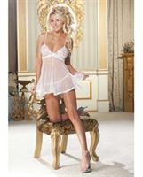 Lace and Net Babydoll w/Adjustable Straps and G-String White