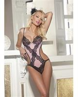 Lace and Stretch Lace Teddy w/Padded Underwire Cups and Adjustable Straps Pink/Black