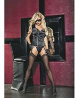 Stretch Satin Zipper Front Corset with G-String