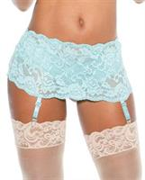 Stretch Lace Garterbelt w/Adjustable Front and Back Garters Spearmint S/M