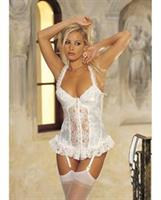 Satin Jacquard Long Line Bustier w/Padded Cups, Adjustable Garters and G-String Ivory