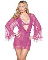 Mesh Robe w/Lace Trim Bell Sleeves, Tri Top and G-String Magenta