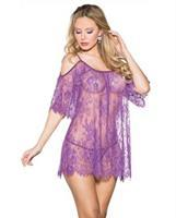 Flowered Lace Babydoll Purple