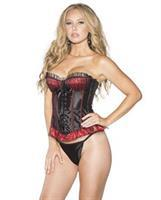 Mesh Overlay Polka Dot and Stripe Corset w/Lace Up Front and Back Closure and G-String Black/Red
