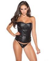 Corset w/Side Back Zipper and G-String Black