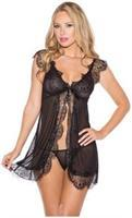 Sheer Chemise w/Lace and Open Front and G-String Black