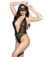 Floral Lace Teddy w/Mask Black